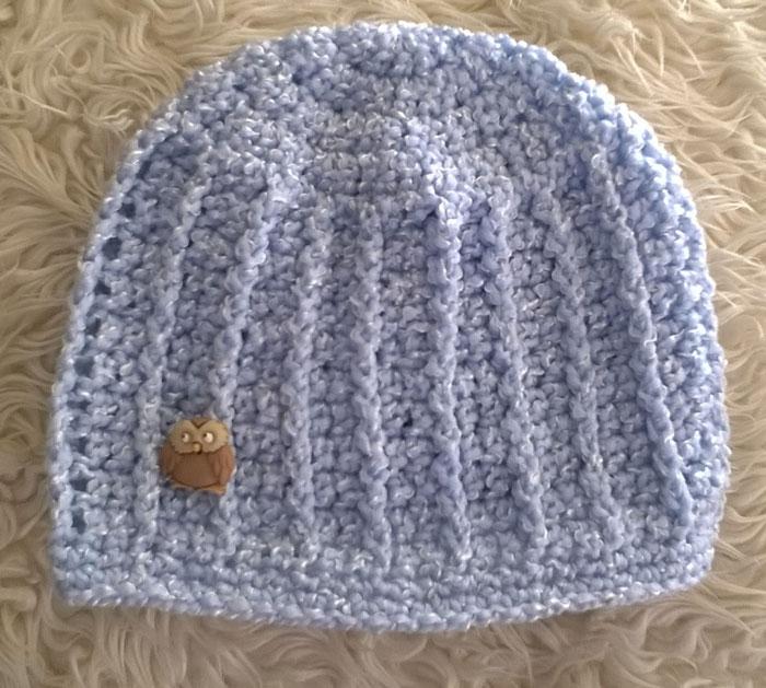 Light Blue Owl Baby Beanie Crochet Baby Shawls ...