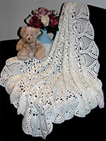 Ivory Crocheted Baby Shawl
