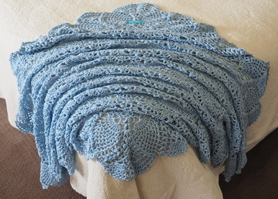 Blue Bamboo & Wool Shawl