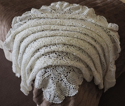Cream 4 Ply Wool Baby Shawl
