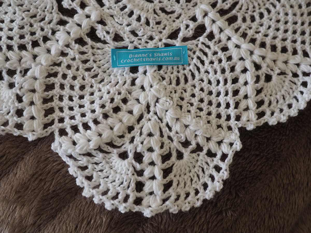 White Delicate Baby Shawl Close Up