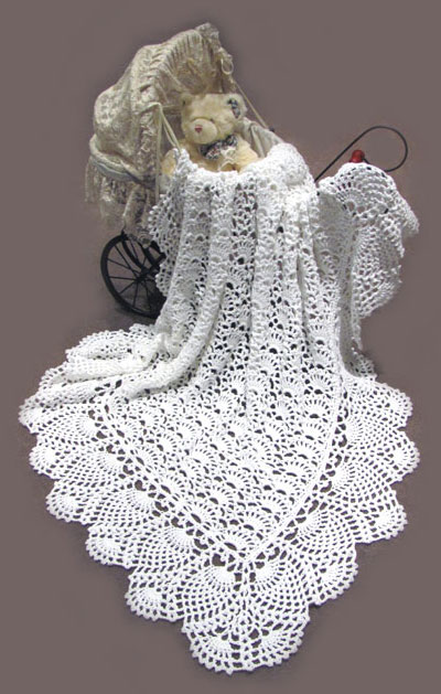 100% Cotton White Baby Shawl is hand crocheted by Dianne in Australia ...